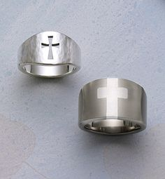 Hammered Wide Crosslet Ring & Titanium Ring with Sterling Silver Cross from James Avery Jewelry #jamesavery