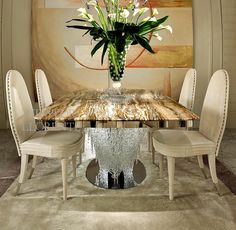 High end luxury designer Onyx dining table with Italian Murano glass pendant base on a polished steel base and detailing. Dining Table, Glass Table, Glass Furniture, Furniture, Murano Glass, Table, Luxury Dining, Table Furniture, Luxury Dining Tables