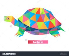 Vector - tortoise geometric (illustration of a many triangles) Paint Chip Art, Paint Chips, Triangles, Tortoise, Murals, Tatting, Illustrator, Art Ideas, Royalty Free Stock Photos