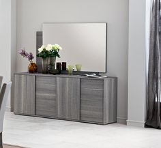Modern Sideboard With 4 Doors Ideal For Living Room Or Dining Storage In Grey Saw Marked Oak Finish