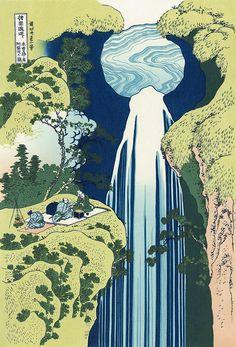 Hokusai/ The Amida Falls in the Far Reaches of the Kisokaido Road (Kisoji no Oku Amidagataki), from the series of A Tour of Waterfalls in Various Provinces (Shokoku Taki Meguri)