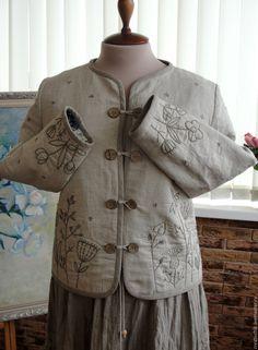 Jacket-dushegreya for Elvira. CreativChik by Anna Krapivina (Creativchik). My Livemaster. Boho Fashion, Womens Fashion, Embroidered Clothes, Textiles, Couture, Blazer Jacket, Stylish, Embroidery, Casual