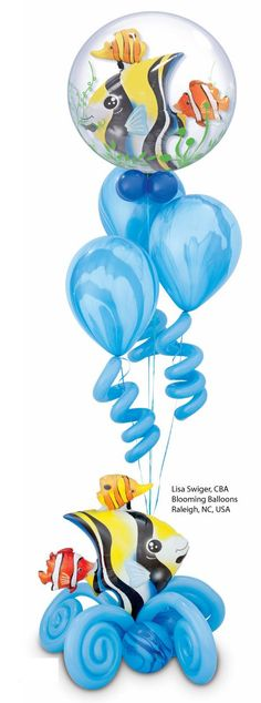 Qualatex Double Bubble #Balloons feature a specially-shaped balloon inside of a clear Bubble, allowing for creative designs like this one! Design by Lisa Swiger, CBA. #undersea #tropical Find a balloon professional near you: http://www.qualatex.com/balloons/findapro.php
