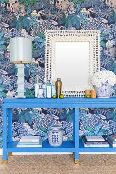 Ming II Grasscloth Console - Available in natural grasscloth or any Sherwin Williams or Benjamin Moore color match. Beaded Mirror, Mirror Mirror, Mirrors, Benjamin Moore Colors, Nautical Nursery, White Rooms, Blue Rooms, Blue Walls, White Decor