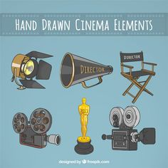 Hand gezeichnet wesentliche Elemente für ein Kino Regisseur Premium Vektoren