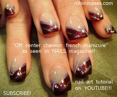 off center chevron french manicure