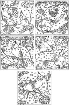 Redwork Embroidery Redwork Cardinal Set - beautiful redwork patterns, great variety, on this site. Advanced Embroidery, Embroidery Applique, Cross Stitch Embroidery, Machine Embroidery Designs, Embroidery Patterns, Coloring Books, Coloring Pages, Colouring, Bird Design