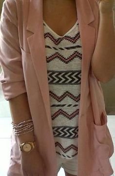 For Spring! Love the peach/pink blazer paired with the print top/sweater.