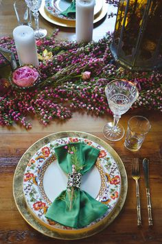 Colorful Bohemian Table Decor for a Brewery Wedding with Rich Jewel Tones and a Floral Runner | Nicole Marie Photography | See More! http://heyweddinglady.com/boho-brewery-wedding-inspiration-in-rich-jewel-tones/