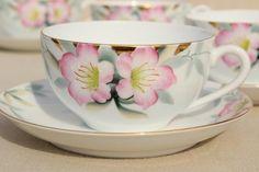 Noritake azalea hand painted china tea cups & saucers set of 6, vintage Japan porcelain