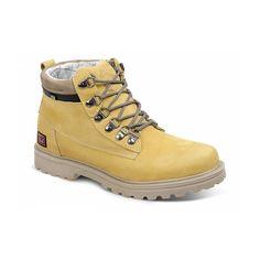 Bota Masculina Em Couro Worker Trail Amarelo