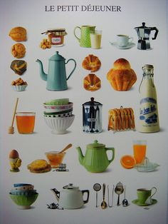 Le Petit dejeuner(Breakfast) in France is traditionally a quick meal ! Here are some quick items displayed that are included in French Breakfast meals ! Breakfast of some kind is always served in cafés opening early in the day!