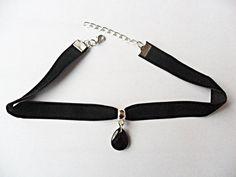 "Black velvet ribbon adjustable choker with black teardrop pendant and a width of 3/8"""