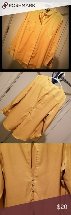 Women's Top Mustard Women's top, light, airy and cool to the touch.  Feels very silky and smooth. Can be worn as a long sleeve top or 3/4 length sleeve.  Versatile with jeans, office pants or tucked into a skirt.  Great detail with unique collar and gold buttons Style & Co Tops Blouses