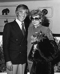 Lucille Ball returned to Palm Springs often over the years. she's shown here with Mel Haber, owner of the Ingleside Inn in Palm Springs, CA circa 1980's.