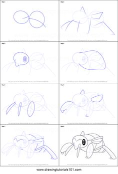 How to Draw Nincada from Pokemon printable step by step drawing sheet : DrawingTutorials101.com