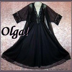 Vintage OLGA Nightgown BLACK BEAUTY w/Peignoir FLOOR LENGTH Gown Robe Long HUGE SWEEP Sz 2X! @Denise Chancey.ecrater.com