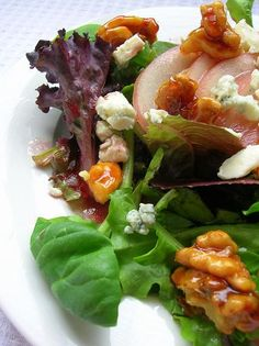 Poached Pear Salad with Blue Cheese, Spiced Caramel Walnuts and Blackberry Jam Vinaigrette