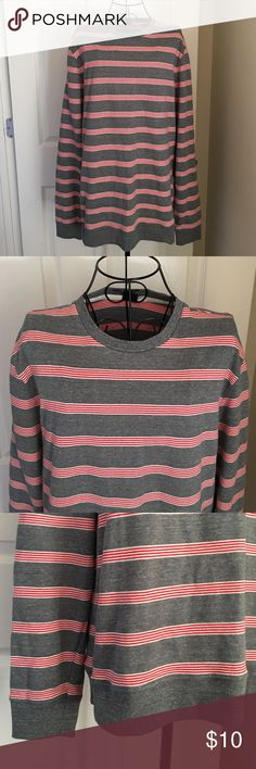 Men's long sleeve sweater/sweatshirt EUC men's long sleeve grey and red sweater/sweatshirt. It is super soft and warm Shirts Tees - Long Sleeve