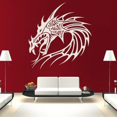 Dragon Head Mythical Creatures Wall Art Sticker Wall Decals - Mythical Creatures - Fantasy
