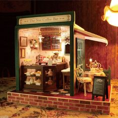 Dollhouse DIY Kit w Cover Light Star Cafe Coffee Bar Cake Shop Store Stand Joint   eBay