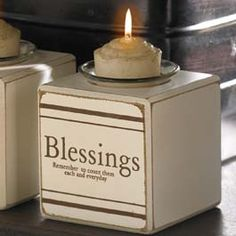 """Count Your Blessings Candle Block   Glass votive cup and candle included. 3""""W X 3""""D X 4""""H"""