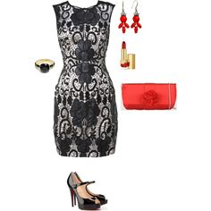 """""""Black lace dress (Red accessories)"""" by silhouetteimage on Polyvore"""