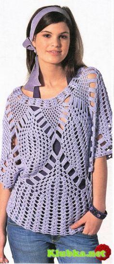 Сиреневый пуловер (вязание крючком).  graphed