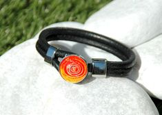 Noosa Style Bracelet Popper Snap Charm Buttons Round Black Leather Ginger Snap Jewelry  One Button Included. by MONIBU on Etsy