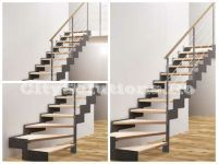 Interior stairs with two side stringers to support the steps of wood, metal or glass. Interior stairs made of painted steel. Glass Stairs, Floating Stairs, Wooden Stairs, Interior Stairs, Interior Decorating, Interior Design, Wood Interiors, Spiral Staircase, Solid Oak