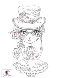Coloring Pages Digital stamp Digi Cat Girl Steampunk