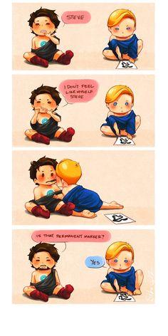 Cuteness! Tony Stark and Steve Rogers