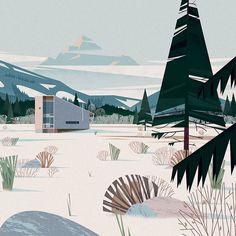 """Happy Friday!  #cruschiform #winterscenes #friday #mountains #snow #design #illustration http://www.pocko.com/talent/cruschiform/"""