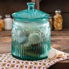 The Pioneer Woman Adeline Cookie Jar Glass Turquoise CT Silicone Gasket Lid The Pioneer Woman, Pioneer Woman Dishes, Pioneer Woman Kitchen, Pioneer Women, Pioneer Woman Cookie Jar, Jar Storage, Food Storage, Creative Storage, Pantry Storage