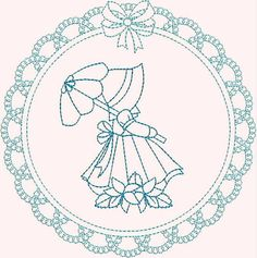 INSTANT DOWNLOAD Lace Frame Umbrella Sunbonnets by embroiderygirl, $9.00