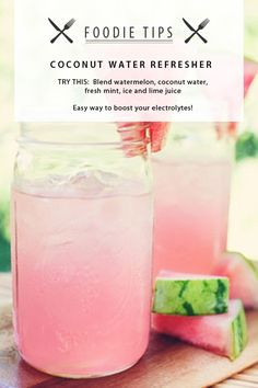 FOODIE TIPS : Opt for a home-made Coconut Water Blend to replace fruit juices and sodas. Coconut water benefits: -High in electrolytes and potassium -Loaded with vital nutrients -Low in Fat