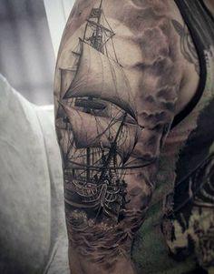 Ships Wheel Tattoo For Men Rad Tattoo, Leg Tattoos, Body Art Tattoos, Tattoos For Guys, Sleeve Tattoos, Arrow Tattoos, Marine Tattoos, Naval Tattoos, Tattoo Barco