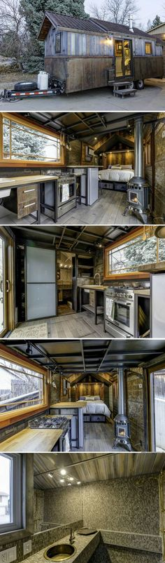 The Earth and Sky Palace tiny house sq ft). I watched this one develop for a year, always driving by on my way to work. (tiny cabins for sale) Tyni House, Tiny House Cabin, Tiny House Living, Tiny House Plans, Tiny House Design, Tiny House On Wheels, Small Living, Tiny Cabins, Farm House