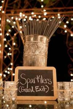 After reception light up sparklers for bride & groom to walk out instead of bird feed, or bubbles