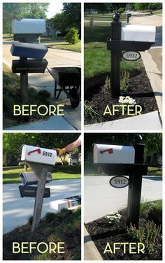 Idea about Cheap Exterior House Reference: Home Made Modern: 10 Cheap Ways to Boost a Builder-Grade's Curb Appeal Mailbox Makeover, Diy Mailbox, Mailbox Ideas, Mailbox Garden, Mailbox Numbers, Backyard Makeover, House Numbers, Black Mailbox, Modern Mailbox