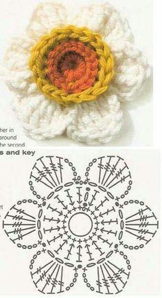 Watch The Video Splendid Crochet a Puff Flower Ideas. Wonderful Crochet a Puff Flower Ideas. Appliques Au Crochet, Crochet Motifs, Crochet Diagram, Crochet Chart, Crochet Squares, Crochet Doilies, Crochet Stitches, Crochet Puff Flower, Knitted Flowers