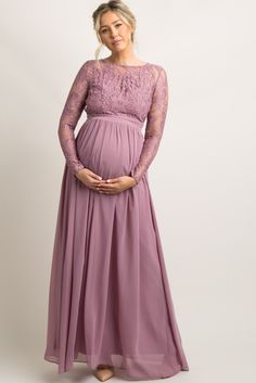 Mauve Lace Trim Open Back Maternity Evening Gown A solid hued, open back maternity evening gown featuring semi-sheer lace trim on top and long sleeves, double lined bust, and pleated chiffon skirt. Additional details include a rounded neckline, double button closure and hidden hook and zipper closure on back. Dress is double lined to prevent sheerness.