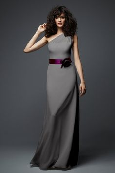 Maid of Honor Dress: Long grey Bridesmaid dress or exclusive Maid of Honor gown. Very contemporary look