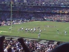 View from the Black Hole at Oakland Coliseum in October 2008. Brett Favre and the Jets vs. the Raiders, won by an INSANE kick by Sea Bass in OT