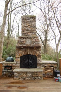 "I have noticed that one of the most common search terms I see is ""how to build an outdoor fireplace?"" Well, you have found the answers. The good news is building an outdoor fireplace is simpler. Outside Living, Outdoor Living Areas, Outdoor Rooms, Outdoor Kitchens, Diy Outdoor Fireplace, Outside Fireplace, Backyard Fireplace, Fireplace Ideas, Outdoor Projects"