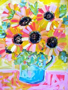18 x 24 Coral and Yellow Sunflowers Original Acrylic Painting