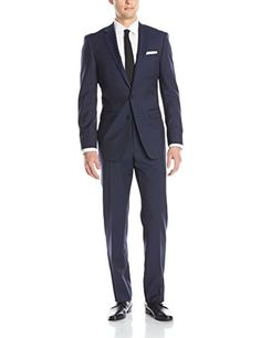 9bb20af1a25a4 Calvin Klein Men s Marbry Navy Pinstripe 2 Button Side Vent Suit with Flat  Front Pant