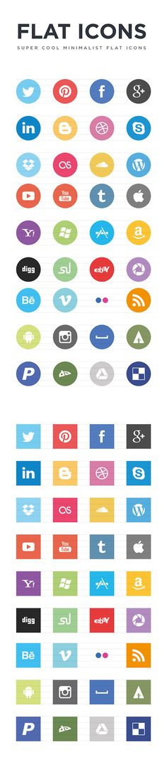 Free Minimalist Flat Social Icons via Web Design Freebies more on http://themeforest.net/?ref=Vision7Studio