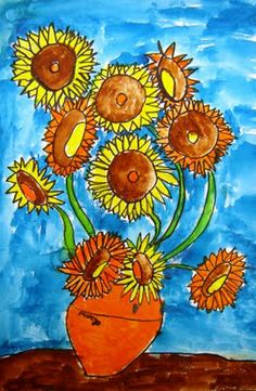 After learning about Vincent and his sunflowers, we did a step by step drawing of the sunflowers in pencil.  Students then traced over pencil with sharpies and added their name in the vase.  Second day we began painting just the flowers and stems.  Third day, we painted the vase, table and background.  I love how they all turn out so different! These made wonderful Mother's Day gifts as well!