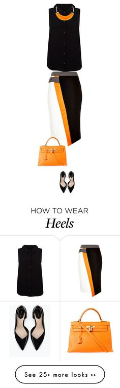 """to work"" by ecem1 on Polyvore featuring River Island, Yumi, Zara, Hermès and Kenneth Jay Lane"